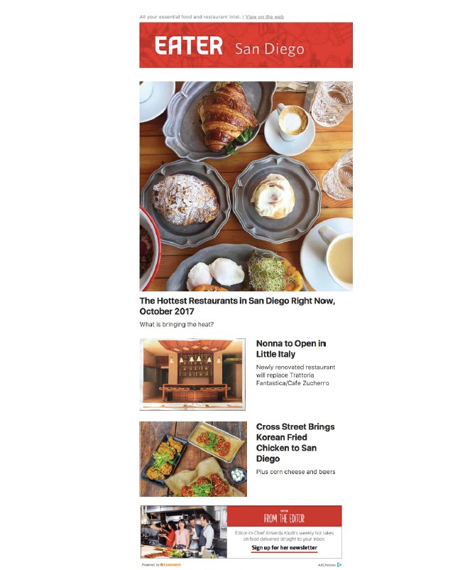 EATER NEWSLETTER SAMPLE